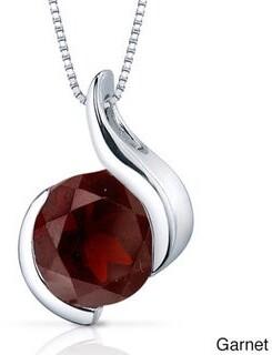 Oravo Sterling Silver Round Gemstone Box Chain Pendant