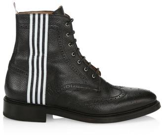 Thom Browne Striped Pebbled-Leather Wingtip Boots