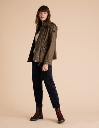 Marks and Spencer Waxed Look Removable Hood Short Jacket