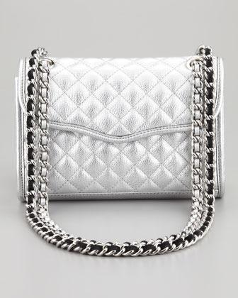 Rebecca Minkoff Quilted Affair Mini Metallic Shoulder Bag, Silver