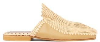 Kilometre Paris - Raffia And Leather Babouche Slippers - Tan