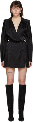 ATTICO Black Jacquard Fluid Mini Dress