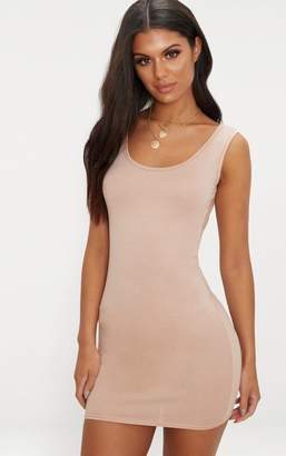 PrettyLittleThing Basic Nude Scoop Neck Bodycon Dress