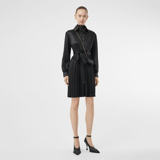 Burberry Pleated Silk Satin and Jersey Tie-waist Shirt Dress