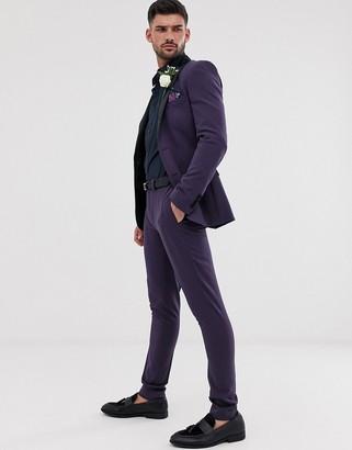 Asos Design DESIGN wedding super skinny tuxedo suit pants in purple