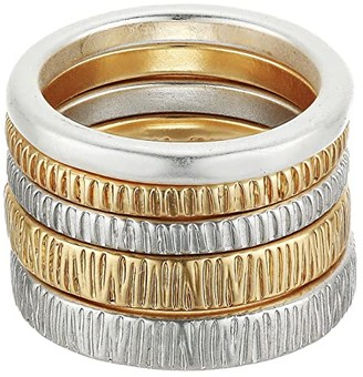 Lucky Brand Hammered Stack Ring Set (Two-Tone) Ring