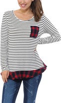Magic Fit Red & White Stripe & Plaid Pocket Long-Sleeve Top