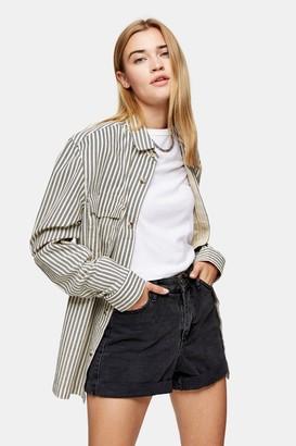 Topman Womens Considered Ecru Stripe Shirt - Ecru