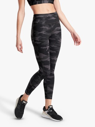 Athleta Ultimate Stash Pocket Camo Print 7/8 Tights, Black/Multi