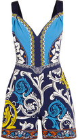 Mary Katrantzou Grosgrain-trimmed Printed Crepe Playsuit - Turquoise