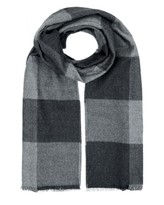 Wool Colour Block Check Scarf