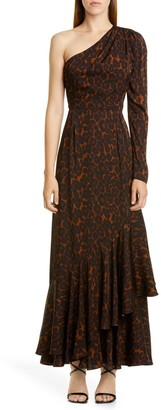 Erdem One-Shoulder Tier Hem Twill Dress