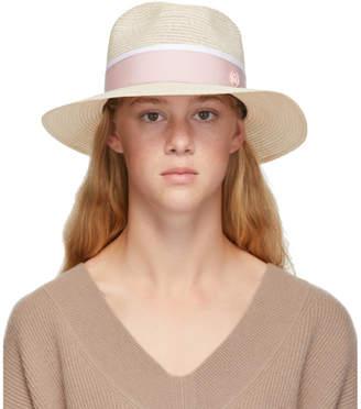 Maison Michel Beige and Pink Straw Henrietta Hat