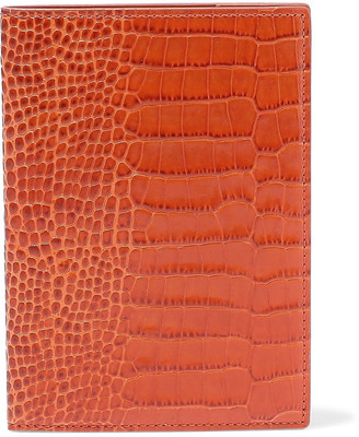 Smythson Mara Croc-effect Leather Passport Cover