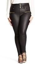 City Chic Plus Size Women's Skylar Coated Corset Skinny Jeans