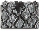 Halston Snakeskin-Embossed Leather Shoulder Bag, Black Multi