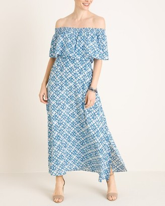 Chico's Smocked Off-the-Shoulder Maxi Dress