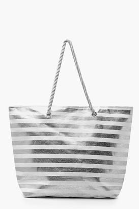 boohoo Metallic Stripe Rope Handle Beach Bag
