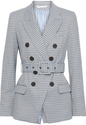 Veronica Beard Harvey Double-breasted Houndstooth Twill Blazer