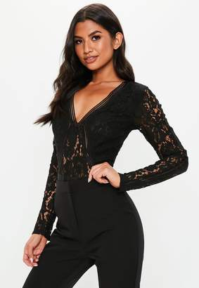 Missguided Black Long Sleeve Lace Sports Tape Bodysuit