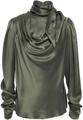 Zimmermann Tie-neck Draped Silk-satin Blouse