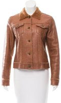 Theory Shearling-Trimmed Leather Jacket