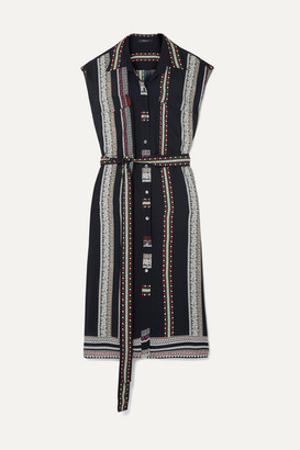Derek Lam Belted Printed Silk Midi Dress - Black