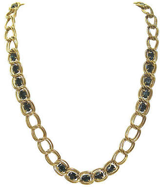One Kings Lane Vintage Givenchy Deep Blue Gold Chain Necklace - Wisteria Antiques Etc