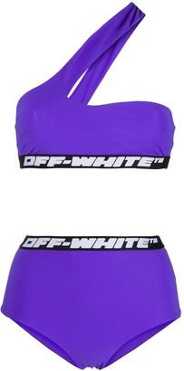 Off-White One-Shoulder Bikini Set