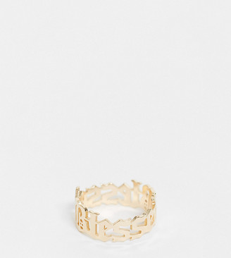 ASOS DESIGN Curve ring with blessed gothic font in gold tone