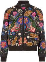 Alice + Olivia Felisa Embellished Silk-chiffon Bomber Jacket - Black