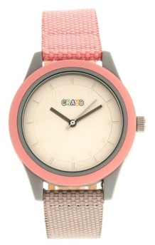 Crayo Unisex Pleasant Light Pink, Brown Leatherette Strap Watch 39mm