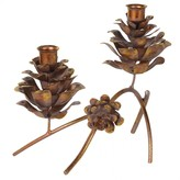 Graham and Green Gold Pine Cone And Branch Candle Holder