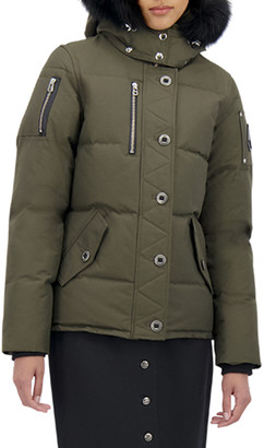 Moose Knuckles 3Q Fox-Trim Detachable-Hood Puffer Coat