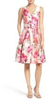 Eliza J Women's Floral Mikado Fit & Flare Dress