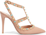 Valentino Rockstud Embellished Leather Pumps - Sand