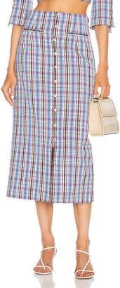 Rosie Assoulin Button Down Pencil Skirt in Blue Plaid   FWRD