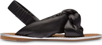 Miu Miu Knotted Nappa-Leather Padded Sandals