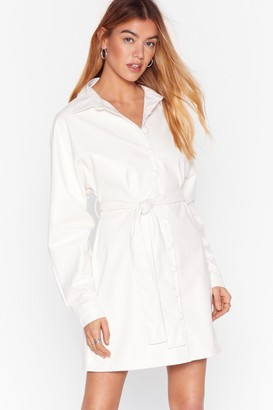Nasty Gal Womens Faux Leather Belted Mini Dress with Tie Belt - Ivory