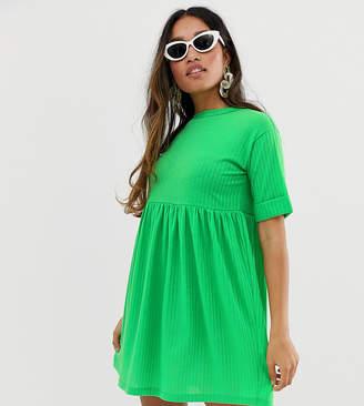 Asos DESIGN Petite roll sleeved rib jersey smock dress