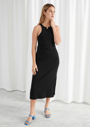 And other stories Belted Soft Ribbed Midi Dress