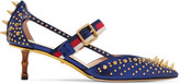 Gucci Bamboo-trimmed Studded Metallic Leather Pumps - Navy