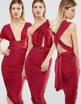 Club L London Midi Multiway Ruched Slinky Dress
