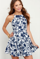 LuLu*s In Living Splendor Ivory and Navy Blue Floral Print Dress