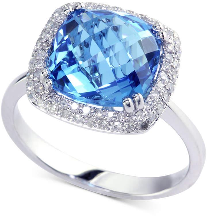 Effy Blue Topaz (5-3/4 ct. t.w.) & Diamond (1/4 ct. t.w.) Ring in 14k White Gold