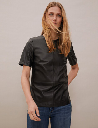 Marks and Spencer Leather Round Neck Short Sleeve Top
