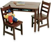 Lipper Child's Rectangle Table with Shelves & Chairs Set in Walnut