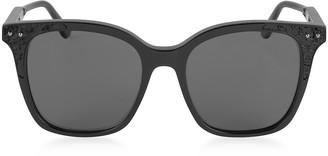 Bottega Veneta BV0118S 005 Black Acetate Frame Women's Polarized Sunglasses