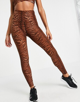 Lorna Jane core ankle biter leggings in tiger print