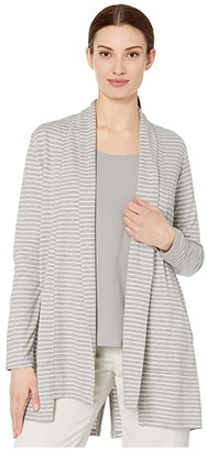 Tribal Long Sleeve Cardigan w/ Back Slit (Grey Mix) Women's Clothing